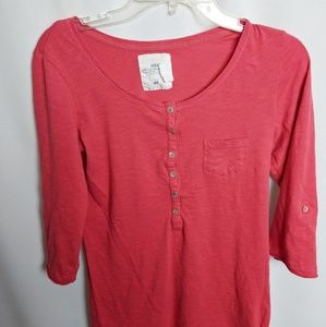 L.O.G.G. by H&M Pink Henley with 3/4 tab sleeves